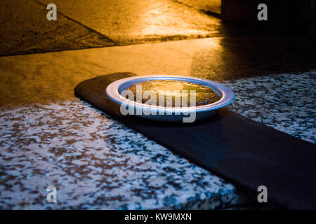 turkish dessert kunefe cooking made of stone oven - Stock Photo