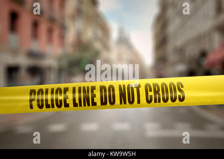 Yellow police line tape with text Police Line Do Not Cross against blurred city background - Stock Photo