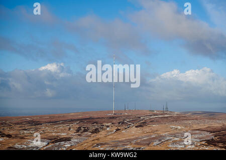 A winters view of Winter Hill radio/TV transmitter, north west England UK - Stock Photo