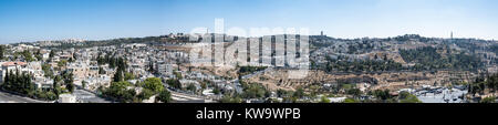 Panoramic view of Mount Scopus Campus and the neighborhoods of Alshaykh Jarah and A-Tur in Jerusalem. - Stock Photo