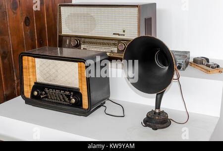 Old radio receivers. Museum exhibits. - Stock Photo