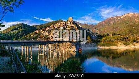 Impressive Castel di Tora village,view with Turano lake,Lazio,Italy. - Stock Photo