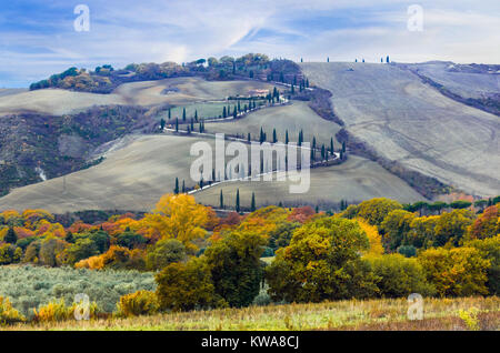 Impressive autumn landscape,panoramic view,Tuscany,Italy. - Stock Photo