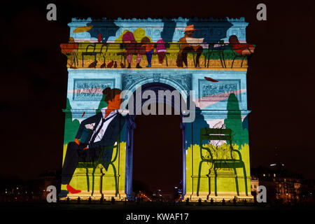 Paris, France. 31st Dec, 2017. The video show projected on the Arc de Triomphe for the new year on December 31, - Stock Photo