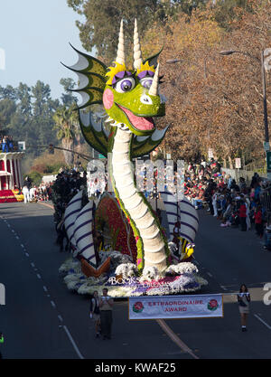 Pasadena, USA. 01st Jan, 2018. Float make its way on Colorado Blv. during the 129th Tournament of the Roses in Pasadena, - Stock Photo