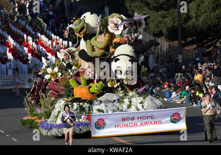 Pasadena, USA. 01st Jan, 2018. Bob Hope Humor float make its way on Colorado Blv. during the 129th Tournament of - Stock Photo