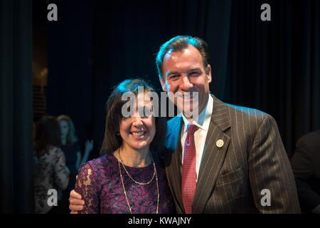 Hempstead, New York, USA. 1st Jan, 2018. Hempstead, New York, USA. January 1, 2018. L-R, SYLVIA CABANA and New York - Stock Photo