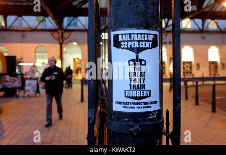 Brighton, UK. 2nd Jan, 2018. A poster outside Brighton railway station this morning against the rail fare rises - Stock Photo