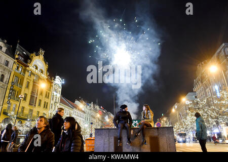 Prague, Czech Republic. 31st Dec, 2017. New Year's celebrations were held on the Wenceslas Square in Prague, Czech - Stock Photo