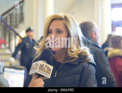 Mineola, New York, USA. January 1, 2018. Town of Hempstead Supervisor LAURA GILLEN, a Democrat, is interviewed by - Stock Photo