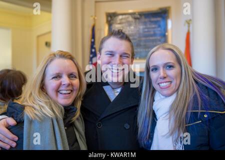 Mineola, New York, USA. January 1, 2018. L-R, Nassau County Legislator DEBRA MULE, 55, (Freeport - 5th District - Stock Photo