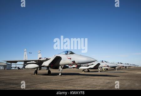 A row of 125th Fighter Wing F-15s from Jacksonville Fla. stack the Eglin Air Force Base flightline Oct. 7, October - Stock Photo