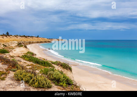 Overlooking South Australia iconic Port Willunga Beach on an overcast day - Stock Photo