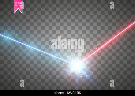 Collision of two forces with red and blue light. Vector illustration. Hot and cold sparkling power. Energy lightning - Stock Photo
