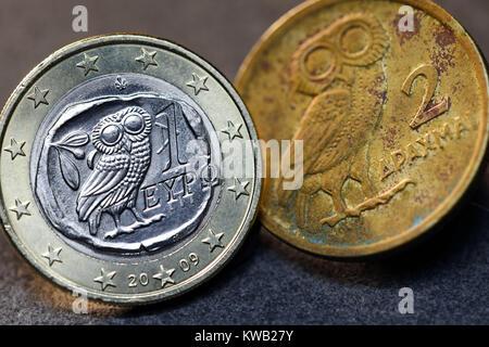 Greek euro-coin one and Greek drachm, Griechische Ein-Euro-M?nze und griechische Drachme, Griechische Ein-Euro-Muenze - Stock Photo