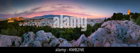 View of Acropolis from Filopappou hill at sunrise, Greece. - Stock Photo