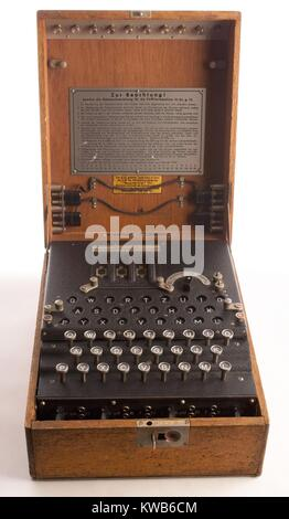 Enigma, the German cipher machine created codes for sending messages during World War 2. Using early computers, - Stock Photo