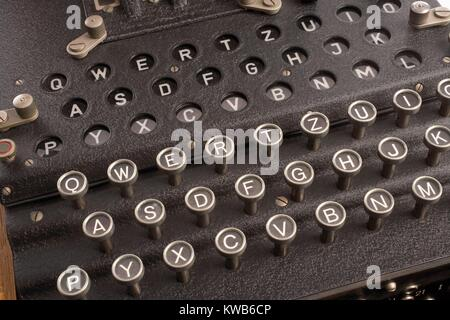 Enigma, the German cipher machine created for sending messages during World War 2. Enigma's settings offered 150,000,000,000,000,000,000 - Stock Photo