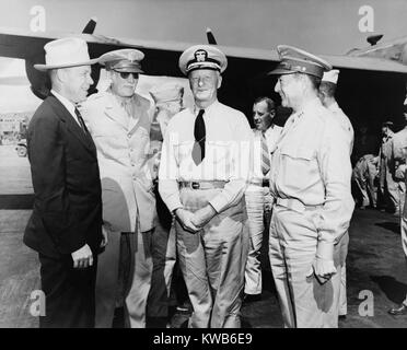 Secretary of War Robert Patterson (in cowboy hat) and Adm. Chester W. Nimitz (center) in 1943. World War 2. (BSLOC - Stock Photo