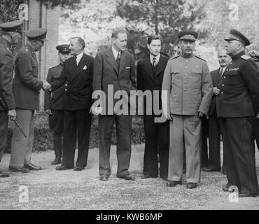 Allied leaders and delegates at the Teheran Conference. Dec. 1943. Outside the Russian Embassy, L-R: Gen. George - Stock Photo