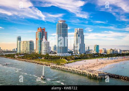 South Beach, Miami, Florida, USA over South Pointe Park. - Stock Photo