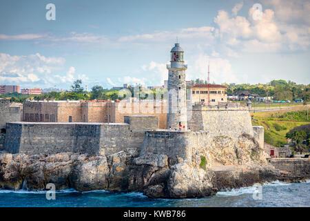 Havana, Cuba light house of La Cabana Fort. - Stock Photo