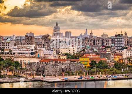Havana, Cuba old town skyline. - Stock Photo