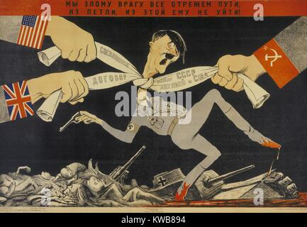 Soviet World War 2 poster by Kukryniksy, 1942. 'We will cut off all roads to the evil enemy, he will not escape - Stock Photo