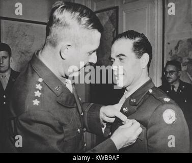 Lt. Col. Frank Capra, receives the Legion of Merit. The Hollywood movie director was chief of the U.S. Army Signal - Stock Photo