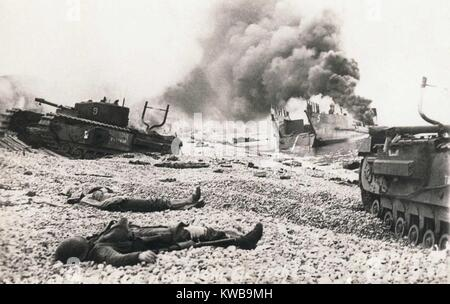 Aftermath of the Dieppe Raid of August 19, 1943. Bodies of Canadian soldiers lying among wrecked landing craft and - Stock Photo