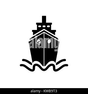 Ship icon in flat style. Black pictogram on white - Stock Photo