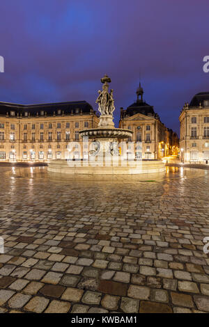 Place de la Bourse in Bordeaux. Bordeaux, Nouvelle-Aquitaine, France. - Stock Photo