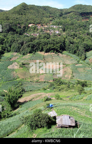 Village on the mount and tea plantation in Yunnan, China - Stock Photo