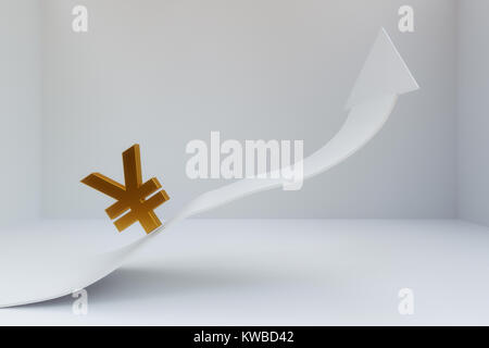 3D rendering of Chinese Yuan sign with increaing arrow - Stock Photo