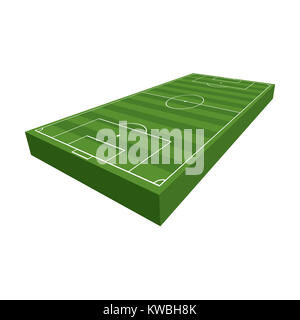A 3D illustration of a soccer football field with green grass and turf isolated on a white background illustration. - Stock Photo