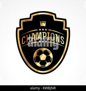 A soccer football champions emblem badge illustration. Vector EPS 10 available. - Stock Photo