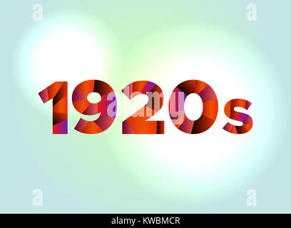 The word 1920s concept written in colorful fragmented word are on a bright background illustration. Vector EPS 10 - Stock Photo