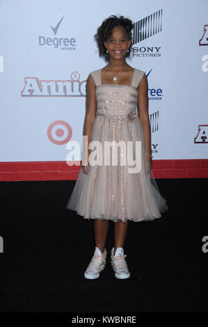 NEW YORK, NY - DECEMBER 07:  Quvenzhane Wallis attends the 'Annie' World Premiere at Ziegfeld Theater on December - Stock Photo