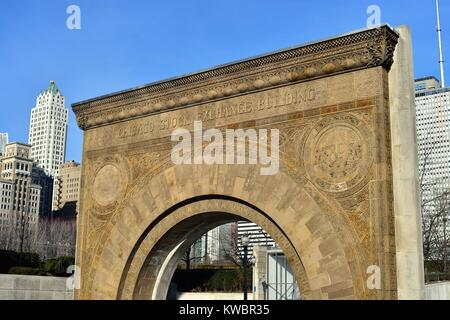 The arch from the Chicago Stock Exchange that rests outside the Art Institute. Chicago, Illinois, USA. - Stock Photo