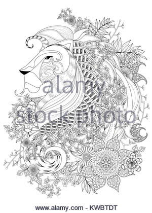 Attractive Lion Adult Coloring Page With Floral Element
