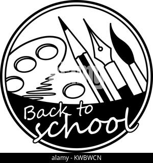 Back to school abstract round vector black and white design with brush, pencil, pen and paint palette - Stock Photo