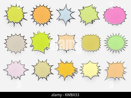 Set of 15 templates colorful speech bubbles in pop art style. Elements for design of comic books. Vector illustration - Stock Photo