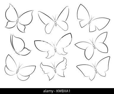 Butterflies vector set outlined silhouettes for design, icons, symbols, decoration or tattoos. - Stock Photo