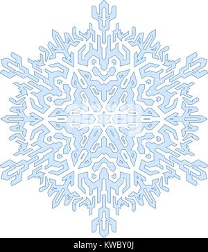 Decorative snowflake in mono line style. Vector geometric pattern in blue tones. - Stock Photo