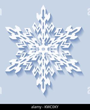 Decorative snowflake with shadow in flat style. Vector geometric pattern in light blue tones. - Stock Photo