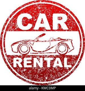 Car rental red rubber stamp grunge template with silhouette of cabriolet - Stock Photo