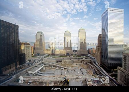 The 16 acre World Trade Center site cleared and prepared for reconstruction. The new WTC will include One World - Stock Photo