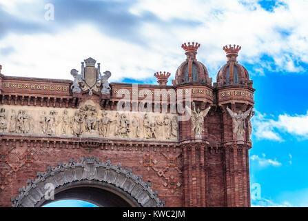 Details of the Arch de Triumph in Barcelona - Stock Photo