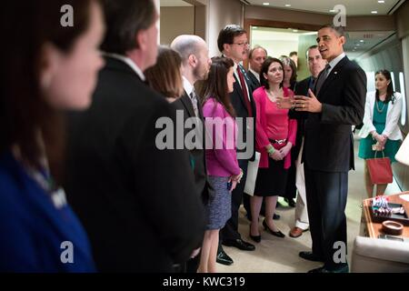President Barack Obama talks with family members of victims of the Sandy Hook shootings. On April 8, 2013 eleven - Stock Photo