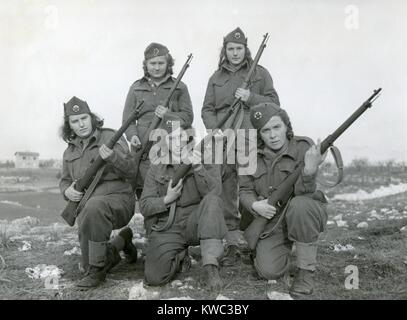 Women partisans who are fighting against the Germans in Yugoslavia. Ca. 1944, World War 2 (BSLOC_2015_13_36) - Stock Photo